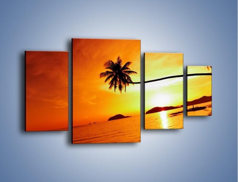 Obraz na płótnie – Palma o zachodzie słońca – czteroczęściowy KN1077W4