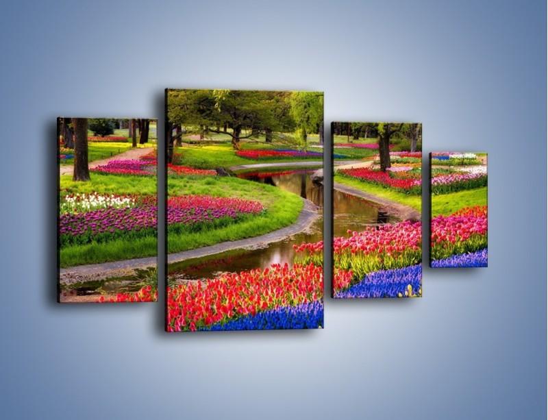Obraz na płótnie – Aleje kolorowych tulipanów – czteroczęściowy KN1079W4