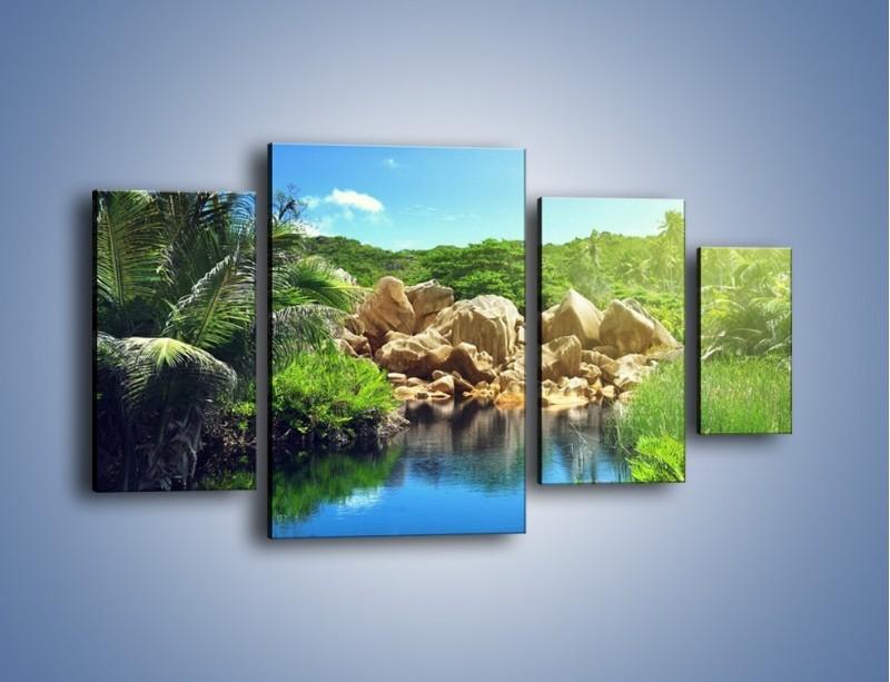 Obraz na płótnie – Bogata roślinność nad wodą – czteroczęściowy KN1082AW4