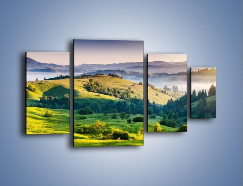 Obraz na płótnie – Tylko zieleń i góry – czteroczęściowy KN1084W4