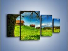 Obraz na płótnie – Chatki na polanie – czteroczęściowy KN1085AW4