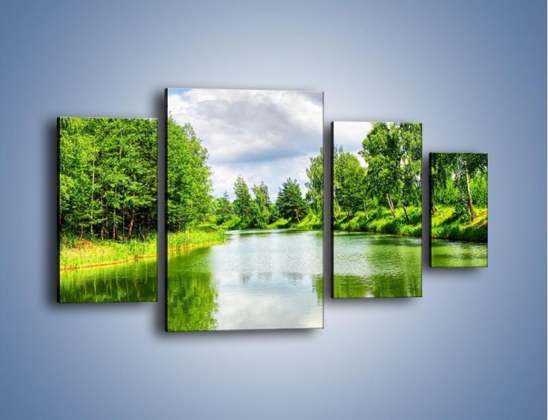Obraz na płótnie – Spokojna woda i las – czteroczęściowy KN1086W4