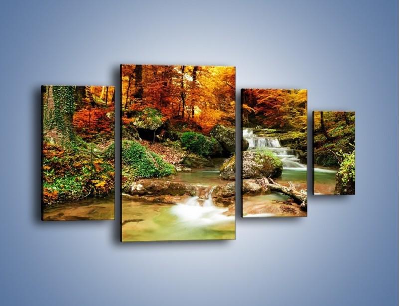 Obraz na płótnie – Jesienne kolory w lesie – czteroczęściowy KN1094AW4