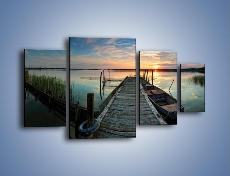 Obraz na płótnie – Stary most i łódź – czteroczęściowy KN1096AW4