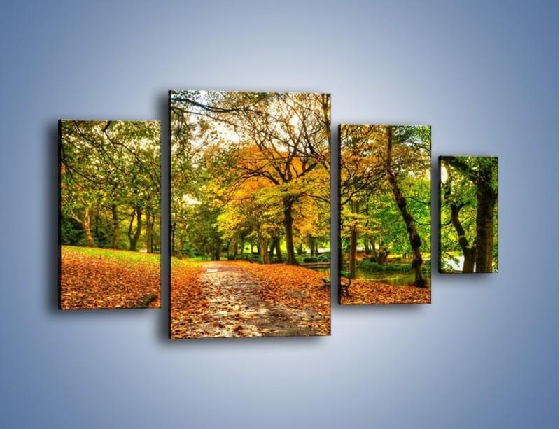 Obraz na płótnie – Piękna jesień w parku – czteroczęściowy KN1098AW4