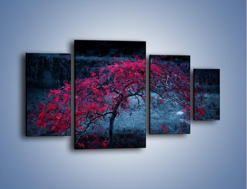 Obraz na płótnie – Czerwone płaczące drzewo – czteroczęściowy KN1101AW4
