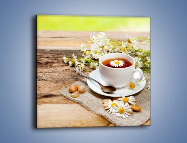 Obraz na płótnie – Filiżanka herbaty na tarasie – jednoczęściowy kwadratowy JN414