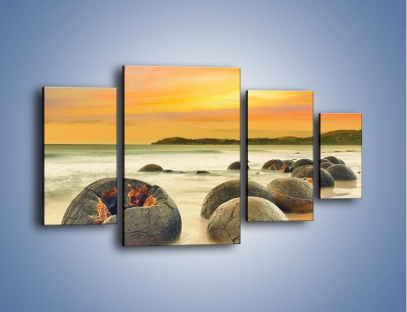Obraz na płótnie – Popękane kamienne arbuzy – czteroczęściowy KN1125AW4