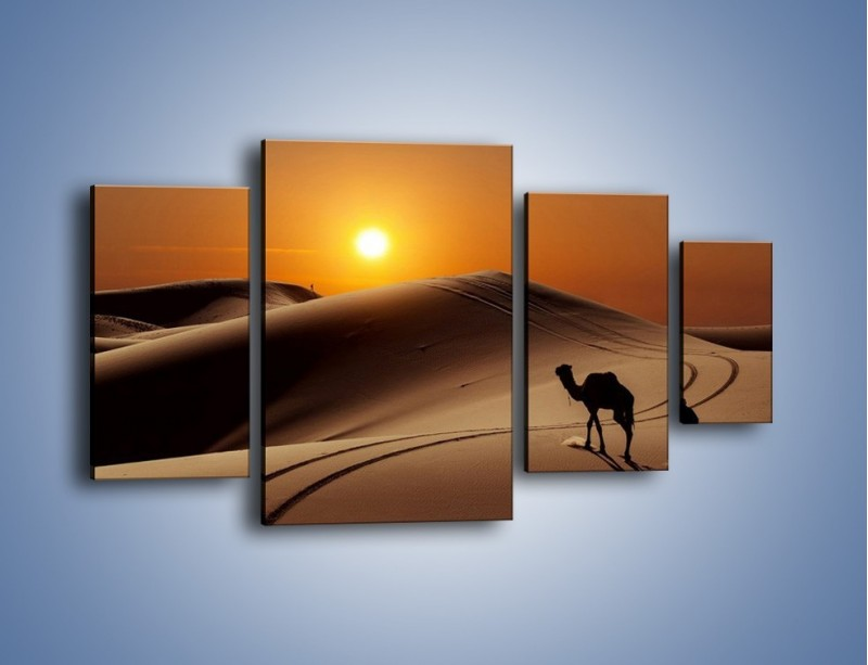 Obraz na płótnie – Człowiek wielbłąd i wydmy – czteroczęściowy KN1134AW4