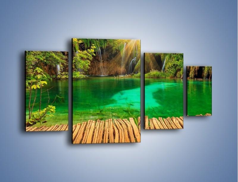 Obraz na płótnie – Zielone oczko wodne i drewno – czteroczęściowy KN1149AW4