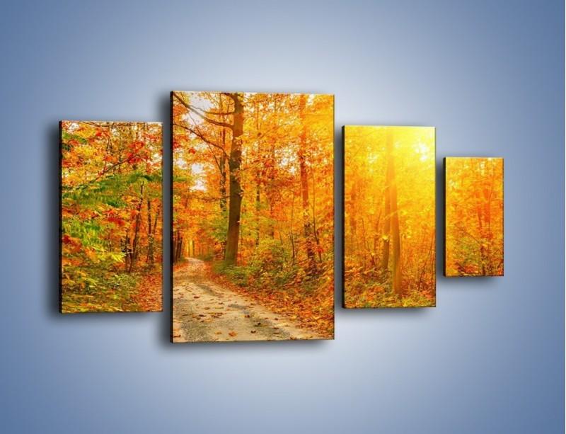 Obraz na płótnie – Leśną drużką jesienią – czteroczęściowy KN1163AW4