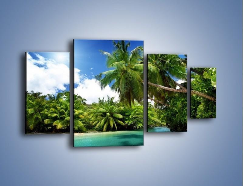 Obraz na płótnie – Rozłożone palmy i woda – czteroczęściowy KN1168AW4