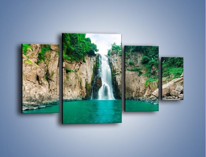 Obraz na płótnie – Skok ze skarpy do wody – czteroczęściowy KN1184AW4