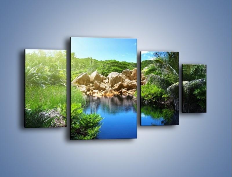 Obraz na płótnie – Wapienne skałki na wodzie – czteroczęściowy KN1188AW4