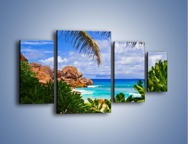 Obraz na płótnie – Urlop pod palmami – czteroczęściowy KN1191AW4