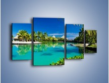 Obraz na płótnie – Biały piasek i palmy – czteroczęściowy KN1201AW4