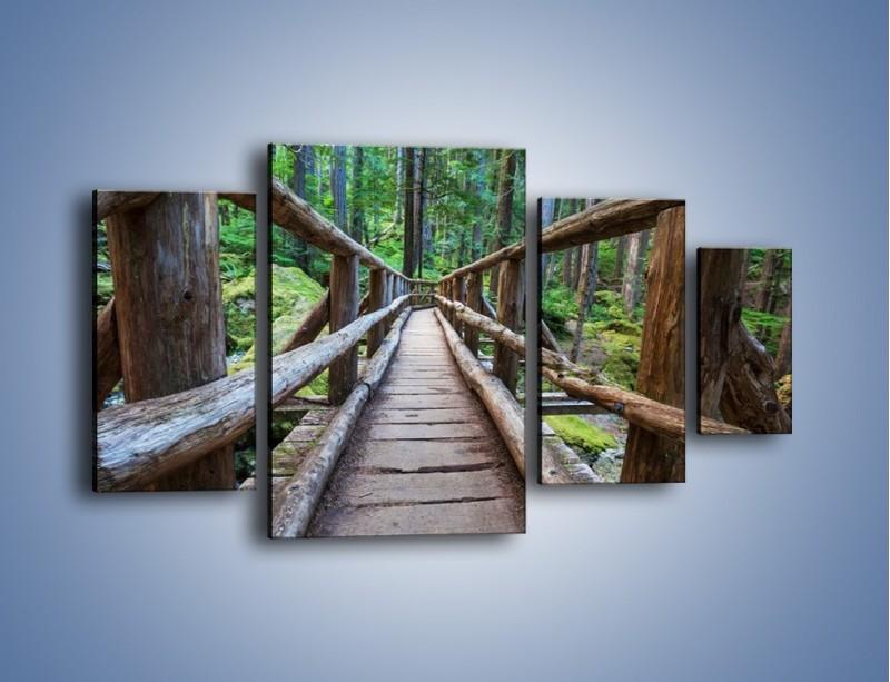 Obraz na płótnie – Mostek z drewnianych bali – czteroczęściowy KN1207AW4