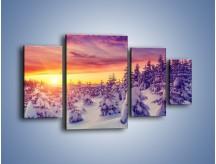 Obraz na płótnie – Choinki w śnieżnej szacie – czteroczęściowy KN1220AW4