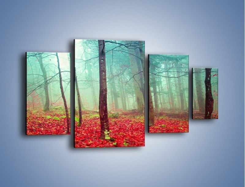 Obraz na płótnie – Drzewka na czerwonym dywanie – czteroczęściowy KN1222AW4