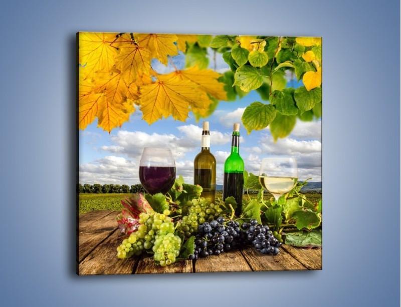 Obraz na płótnie – Wino w jesiennych klimatach – jednoczęściowy kwadratowy JN415