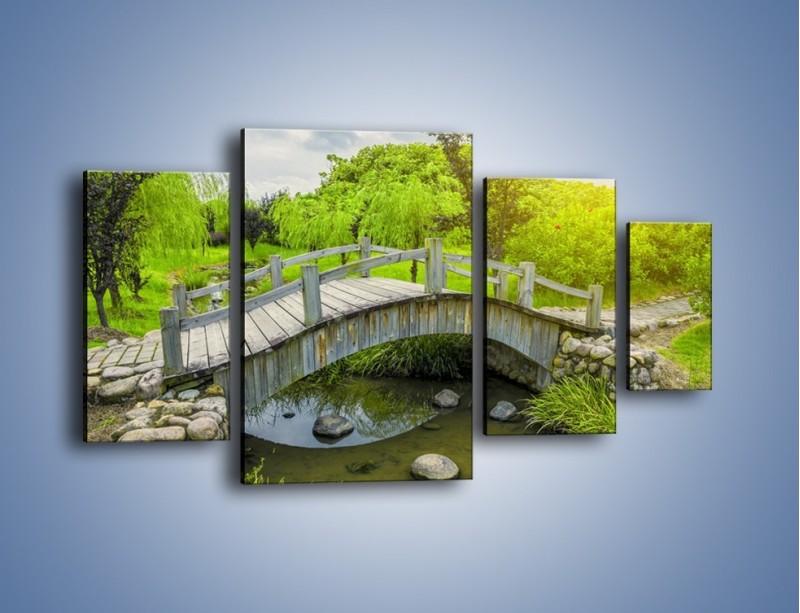 Obraz na płótnie – Mały mostek przez rzeczkę – czteroczęściowy KN1254AW4