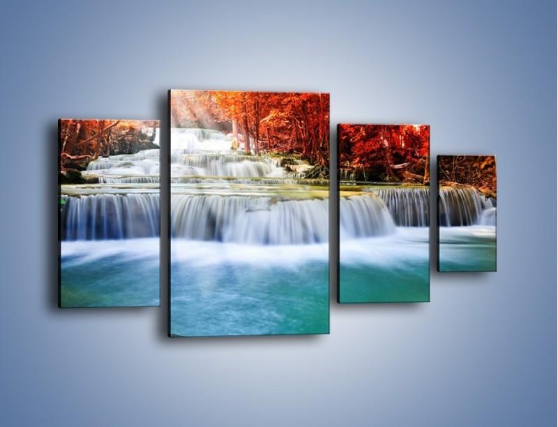 Obraz na płótnie – Jak przyjemnie nad wodą – czteroczęściowy KN1291AW4