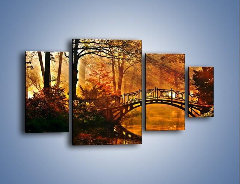 Obraz na płótnie – Cudowny spacer jesienną porą – czteroczęściowy KN1319AW4
