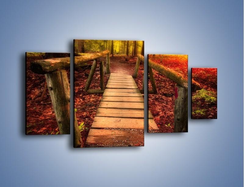 Obraz na płótnie – Krótkie przejście przez las – czteroczęściowy KN1330AW4