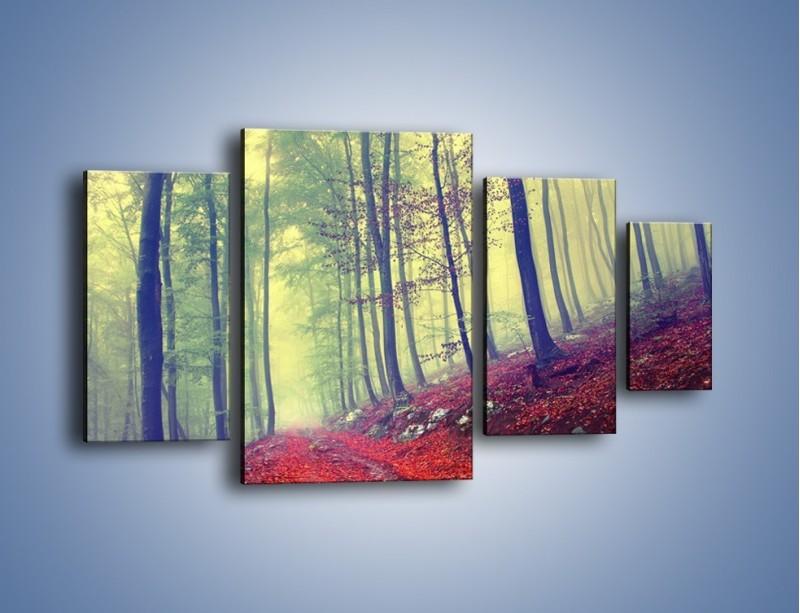 Obraz na płótnie – Bardzo wąską ścieżką leśną – czteroczęściowy KN1335AW4