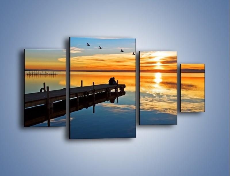 Obraz na płótnie – Bliskość na drewnianym pomoście – czteroczęściowy KN1361AW4