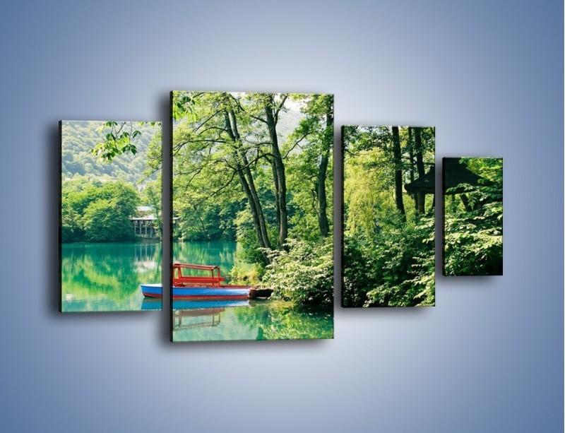Obraz na płótnie – Wakacje nad jeziorem – czteroczęściowy KN155W4
