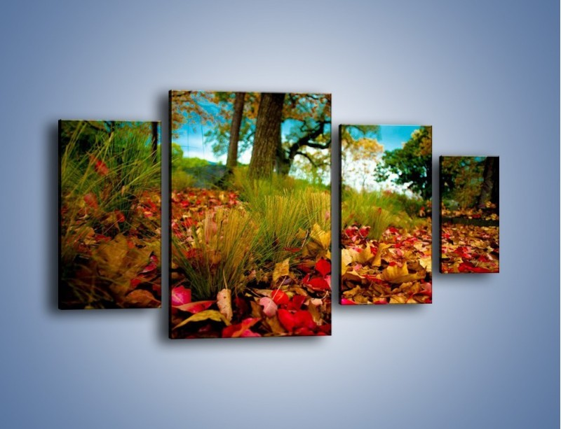 Obraz na płótnie – Droga usłana liśćmi – czteroczęściowy KN172W4