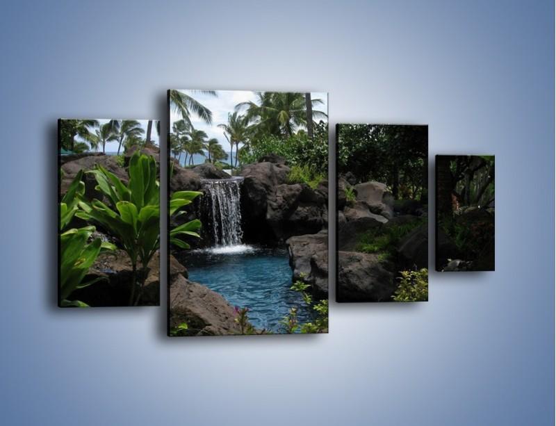 Obraz na płótnie – Wodospad wśród palm – czteroczęściowy KN208W4