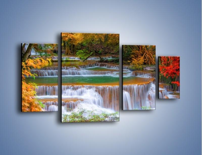 Obraz na płótnie – Schodki z wodospadów – czteroczęściowy KN287W4