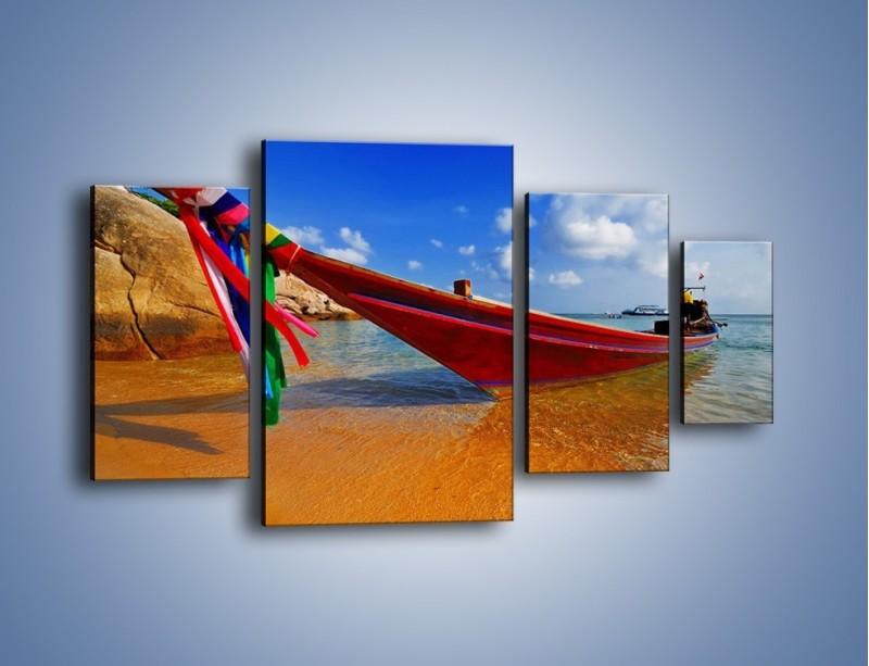 Obraz na płótnie – Kolorowa łódź na brzegu – czteroczęściowy KN415W4