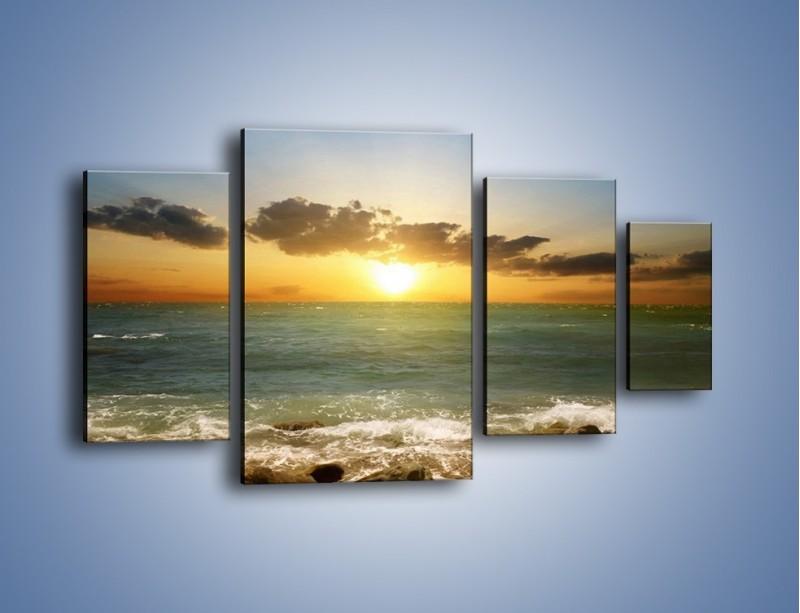 Obraz na płótnie – Kamienisty brzeg i jego spokój – czteroczęściowy KN482W4