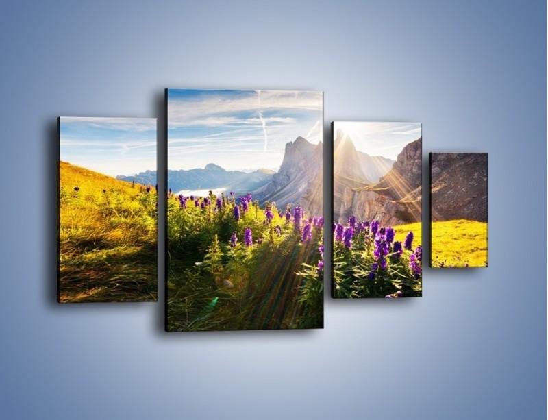 Obraz na płótnie – Góry w poświacie słońca – czteroczęściowy KN502W4