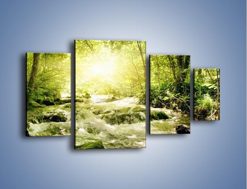 Obraz na płótnie – Wzburzony potok leśny – czteroczęściowy KN508W4