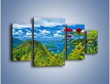 Obraz na płótnie – Bordowe kwiaty w górskim krajobrazie – czteroczęściowy KN561W4