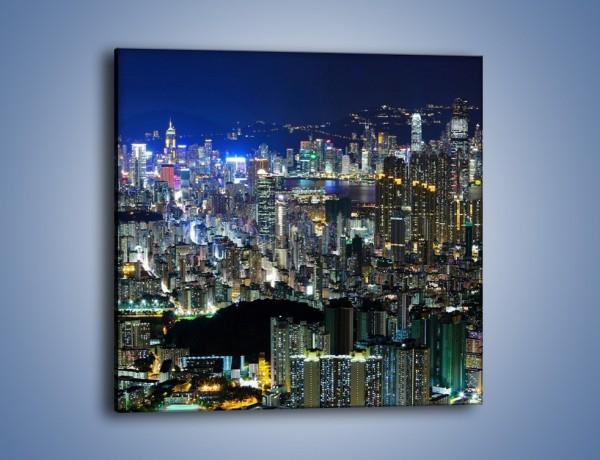 Obraz na płótnie – Nocne światła w dużym mieście – jednoczęściowy kwadratowy AM144