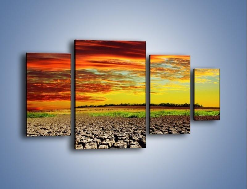 Obraz na płótnie – Spękane chmury i ziemia – czteroczęściowy KN602W4