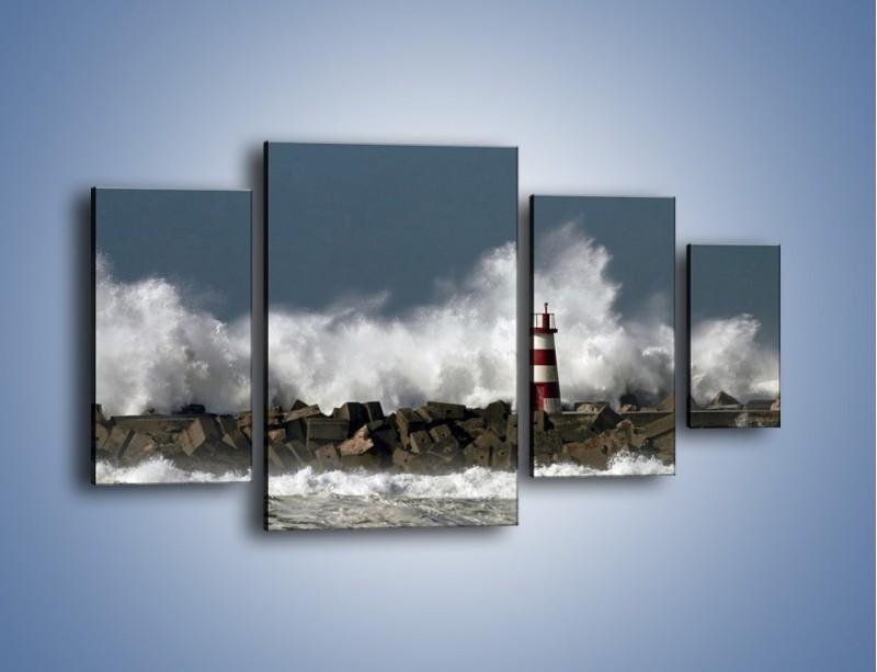 Obraz na płótnie – Latarnia morska w sztormie – czteroczęściowy KN626W4