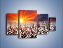Obraz na płótnie – Choinki w środku zimy – czteroczęściowy KN682W4