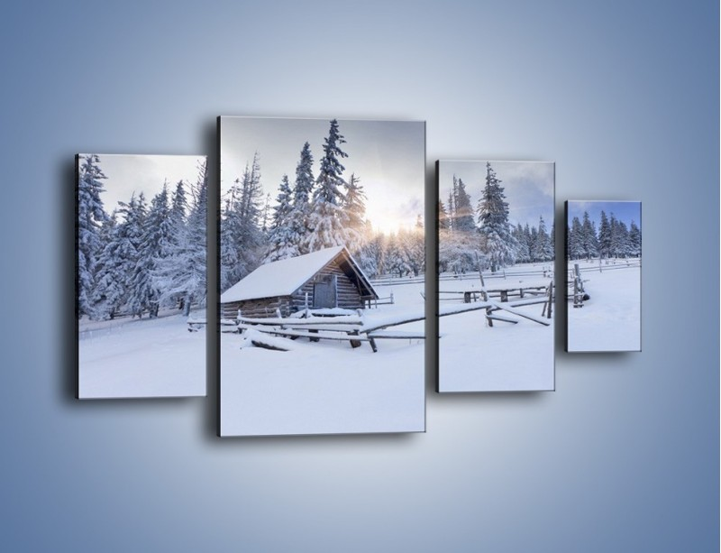Obraz na płótnie – Chatka zatopiona w śniegu – czteroczęściowy KN696W4