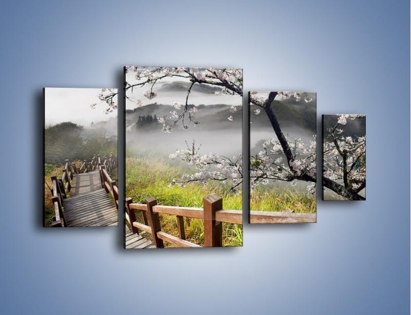 Obraz na płótnie – Drzewo wiśni i kręte schody – czteroczęściowy KN698W4