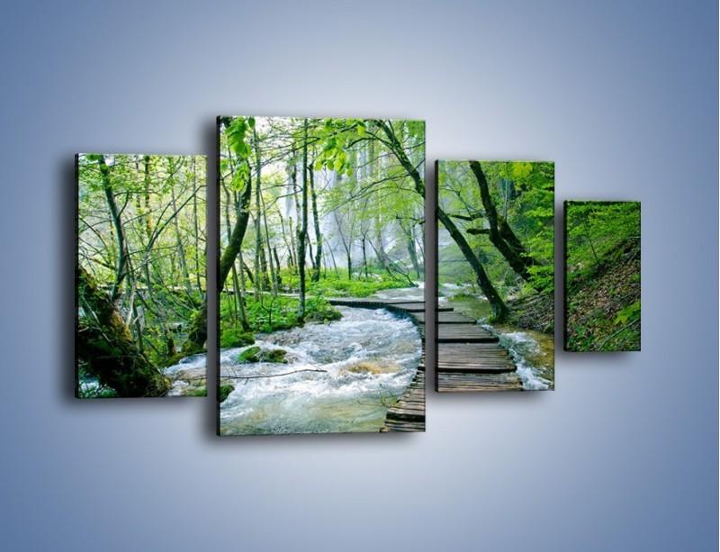 Obraz na płótnie – Drewniana kładką przez potok – czteroczęściowy KN720W4