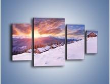 Obraz na płótnie – Chatka w śnieżnym dywanie – czteroczęściowy KN725W4