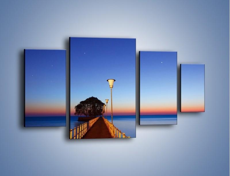 Obraz na płótnie – Wieczorny spacer po tafli morza – czteroczęściowy KN759W4