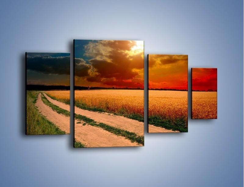 Obraz na płótnie – Zbożowa polana i jej cały urok – czteroczęściowy KN776W4