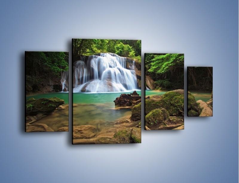 Obraz na płótnie – Drzewa schowane za wodospadem – czteroczęściowy KN792W4
